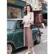 上下セット 2点セット スリム カットソー フレアスリーブ ニットの上着 長袖 カットソー ファッション