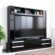 ゲート型TV台 180cm幅 鏡面 リビング壁面収納 60インチ対応 ブラック FS-15180BK