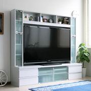 鏡面 リビング壁面収納 60インチ テレビ台 ゲート型 180cm幅 ホワイト FS-15180WH