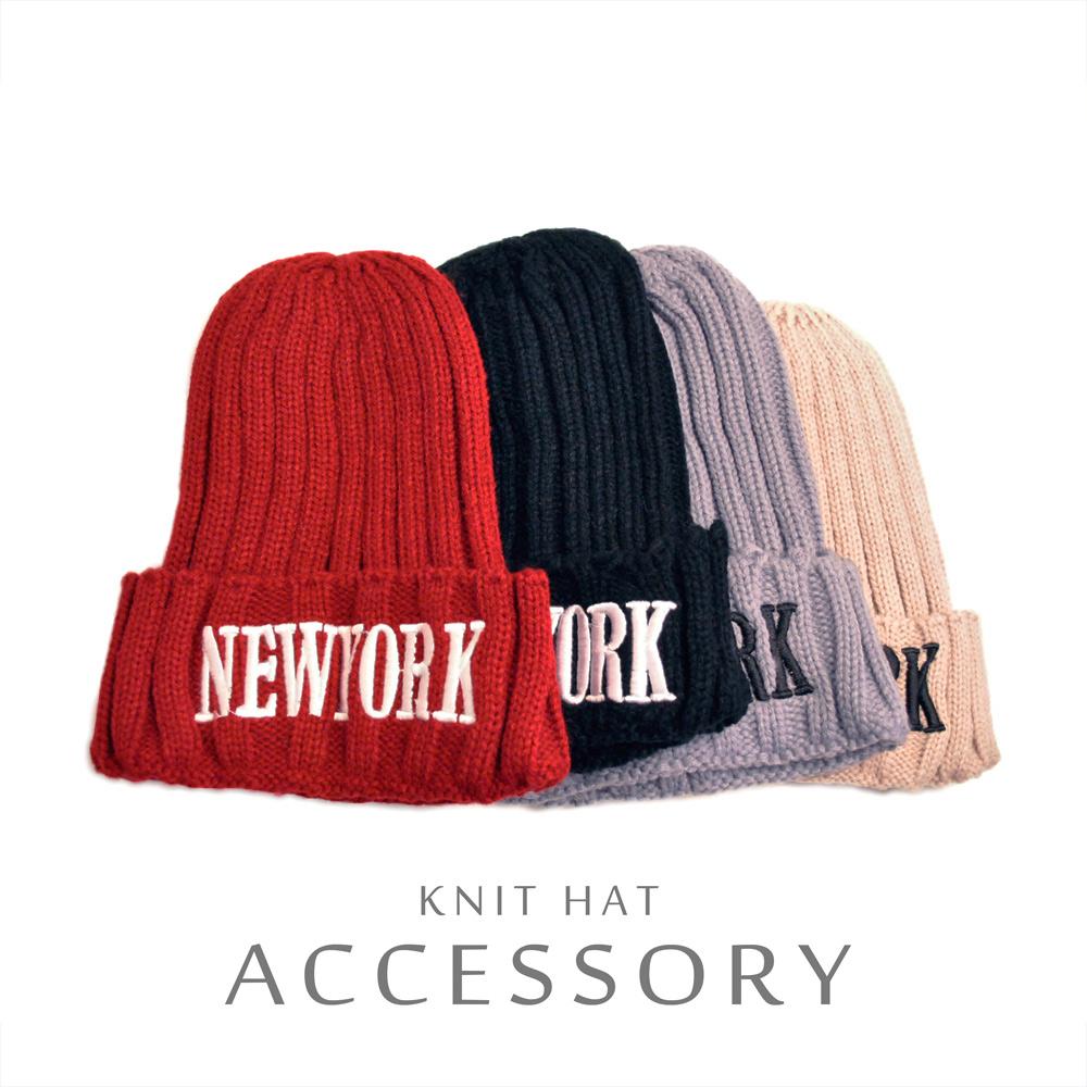 ▼MAGGIO▼【男女兼用】COOLなスタイルを演出 NEWYORK刺繍カラーニット帽 ニットキャップ