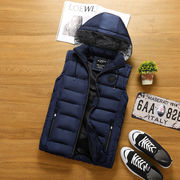 秋冬ファッション/カジュアルジッパーフード付きベスト_556959240706