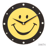 掛け時計 スマイルウォールクロック Φ20cm イエロー×ブラック