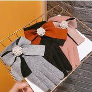 秋冬新作 手袋 五本指 リボン パール ストーン オシャレ 厚手 スマホ対応 暖か 贅沢 韓国