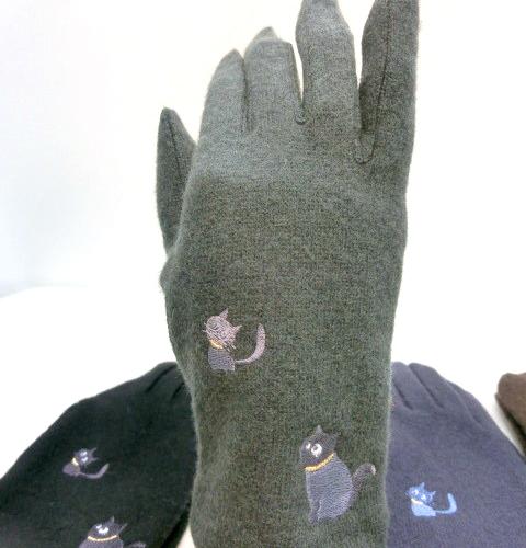 【手袋】【婦人用】婦人ウール混親子ネコ刺繍手袋
