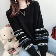 可愛い ニットセーター クルーネック 個性的な袖