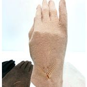 【手袋】【婦人用】婦人ウール混恋クジャク刺繍手袋