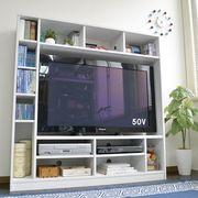 【12/下】50インチ対応 135幅 テレビ台 壁面 収納ゲート型 ホワイトTVB-135-WH