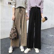 レディースボトムス 2色ロング丈ズボン ガウチョパンツ ワイドパンツ脚長 韓国ファッション ベーシック