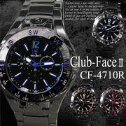 【選べるケース有or無】 Club Face 腕時計 男性用 ブラック メタルバンド ウォッチ◇CF-4710R