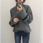 レディーストップス 2色 新しいデザイン ハイネック プルオーバー ニットセーター 人気 温かい 厚手韓国風