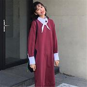 韓国 スタイル ファッション レディース 2018 心地良い 裏起毛 ワンピース
