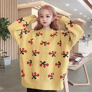 韓国 スタイル ファッション レディース 2018 ゆったり 可愛い 長袖 編み織 セーター