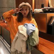 韓国 スタイル ファッション レディース 2018 イージー 無地 長袖 編み織 セーター
