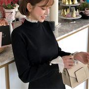 韓国 スタイル ファッション レディース 心地良い 重ね着風 長袖 Tシャツ ブラウス