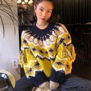 韓国 スタイル ファッション レディース ヴィンテージ ゆったり ニット 編み織 セーター