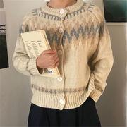 韓国 スタイル ファッション レディース 復古 配色 セーター