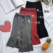 2018 秋 冬 韓国 スタイル ファッション レディース ゆったり 着痩せ効果抜群 不規則 スカート