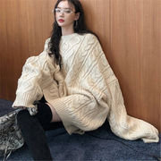 2018 秋 冬 韓国 スタイル ファッション レディース 韓国風 ゆったり 長袖 ニット 編み織 セーター