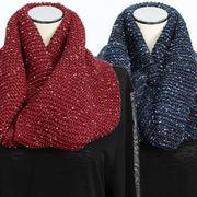 【冬 新作】レディース マフラー ミックス毛糸 ガーター編み モヘア ニット 襟巻き スヌード 10枚セット