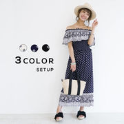 【WEB限定】セットアップ オフショル ロングスカート パネルプリント