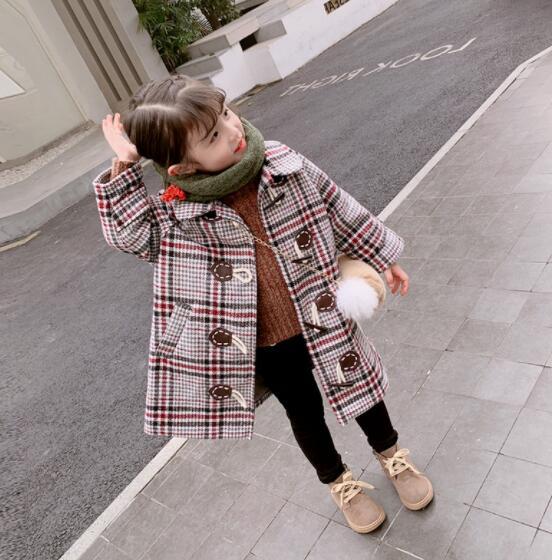 厚手 ラシャ 女の子 子供 キッズ チェック ジャケット コート 冬 防寒 2色