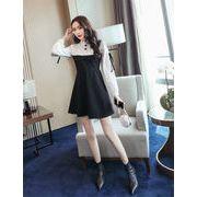 韓国ファッション  CHIC気質  縫付  スリム  ワンビース
