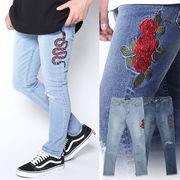 【2018SS新作】 メンズ ストレッチデニム カットオフ 刺繍スキニーパンツ