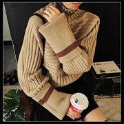 韓国 スタイル ファッション 秋 冬 カジュアル ハイネック 長袖 ニット セーター