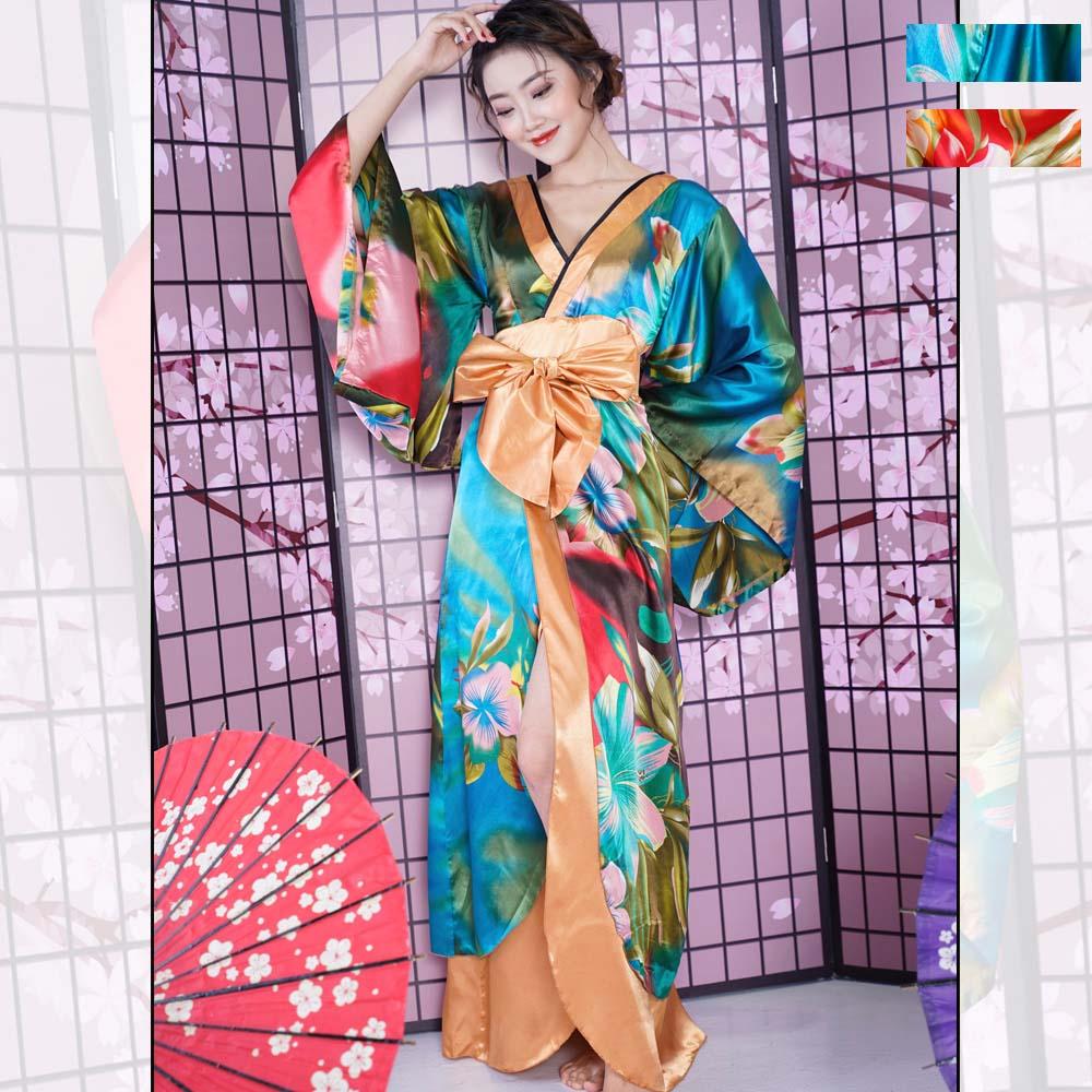 0690グラデーションロング着物ドレス 和柄 衣装 ダンス よさこい 花魁 コスプレ キャバドレス