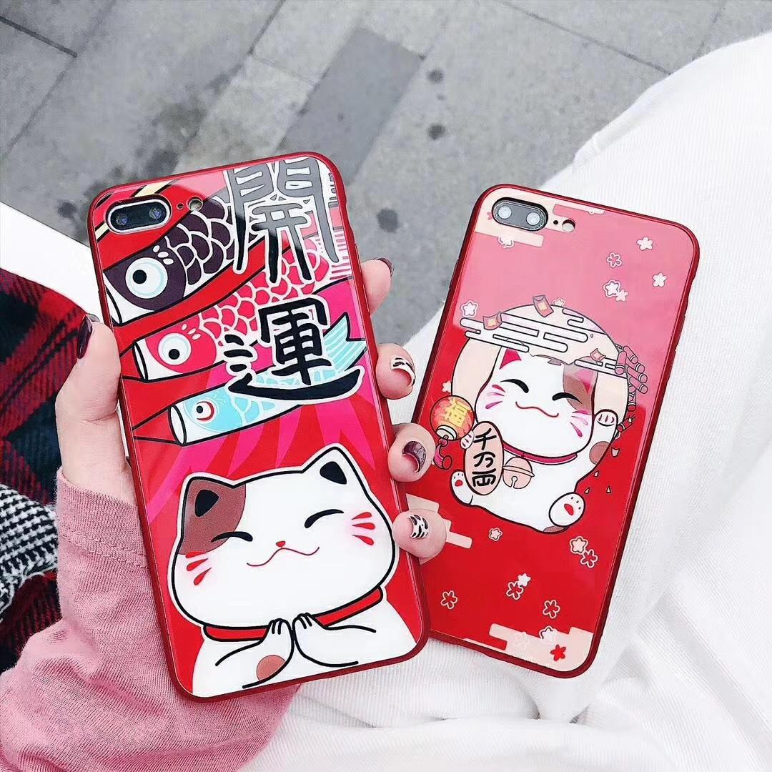招き猫 iPhoneケース 耐衝撃 iPhoneXRガラスケース スマホ保護