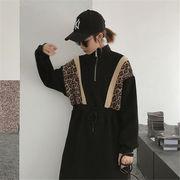 韓国 スタイル ファッション 秋 冬 激安 ヒヨウ柄 着痩せ効果抜群 ワンピ