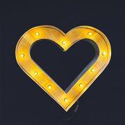 アメリカン雑貨 WOOD HEART ライト 壁掛け ハート オブジェ
