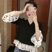 韓国風 ファッション 【秋冬新作】 切り替え ドット柄 七分袖 ブラウス