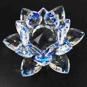 クリスタルガラス蓮花台 ブルーカラー 小サイズ  品番: 10086