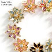 メタルフレーム&ガラス使用 立体的なフラワーパーツ //アクセサリー/パーツ/材料/卸/ハンドメイド