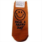 【靴下:メンズ】HAVE A HAPPY DAY メンズアンクルソックス/スマイルBR