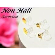 ノンホール樹脂ピアスアソート カン付き&丸皿付き 6個3ペア×2種類 計12個6ペア ゴールド