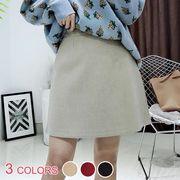 シンプルジップアップハイウェストスエードAラインミニスカート:全3色_OML9304