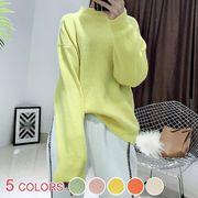 清楚系キャンディカラー無地ラウンドネック長袖ゆるニットセーター:全5色_OML9311