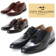 【CITY FELLOWS】(シティーフェローズ) 外羽根式 Uチップ レースアップ レザー ビジネス シューズ