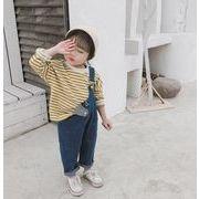 Tシャツ 春秋 キッズ服 子供 ブラウス トップス 長袖 ボーダー カジュアル系 2色