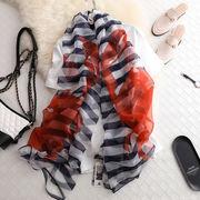 大判ストール スカーフ シルクタッチ ボーダー蟹柄入り 全2色 7851