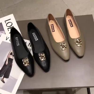 ネット レッド フラット 靴 春秋 新しいデザイン 浅い口 ヒント アンティーク調 何で