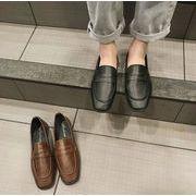 レディース 靴 PU シューズ シンプル パンプス 通勤 ローヒール 無地 シンプル