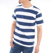 【2019春夏新作】 半袖Tシャツ メンズ クルーネック ボーダー柄 太ボーダー 黒 紺 春 夏 先染め