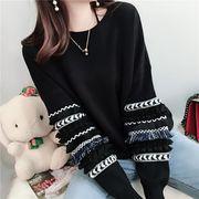 【値段下げました】全2色 ニットセーター  ラウンドネック 袖のフリル  プルオーバー韓国風