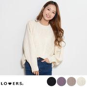 春新作 ケーブル編みクルーネックニット 【即納】トップス ニット ケーブル編み クルーネック