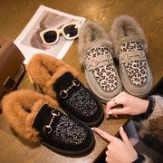ピーズ靴 女 新しいデザイン 韓国風 裏起毛 ラウンド 暖かい ふわふわシューズ ウイン