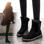 スノーブーツ 女 新しいデザイン 靴 ウインター 韓国風 スエード 太いヒール ローヒー