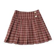 グリッド プリーツスカート 女 春夏季 新しいデザイン 韓国風 カレッジ風 何でも似合う